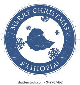 Vintage Merry Christmas Ethiopia Stamp. Stylised rubber stamp with map of Ethiopia and Merry Christmas text, vector illustration