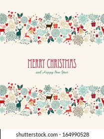 Vintage Merry Christmas greeting card seamless pattern background. EPS10 vector file organized in layers for easy editing.