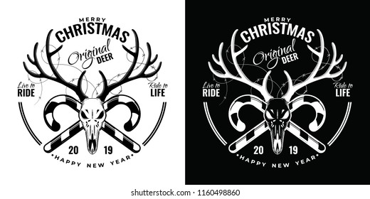 Vintage Merry Christmas And Happy New Year Calligraphic Typographic Logotype With Scull Of The Deer