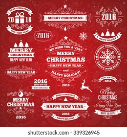 Vintage Merry Christmas And Happy New Year Calligraphic And Typographic Background. Vector Illustration