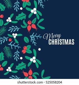 Vintage Merry Christmas And Happy New Year background. Berries, sprigs and leaves stylish vector illustration on winter greeting card. Good for cards, posters and banner design