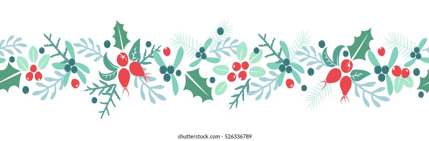 Vintage Merry Christmas And Happy New Year background. Berries, sprigs and leaves stylish vector repeating white winter illustration. Good for cards, posters and banner design