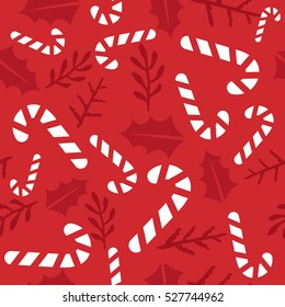 Vintage Merry Christmas And Happy New Year seamless pattern background. candies, sprigs and leaves stylish vector winter seamless pattern. Good for cards, posters and banner design