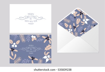 Vintage Merry Christmas And Happy New Year envelope template design set. Berries, sprigs and leaves stylish vector illustration on winter greeting card.