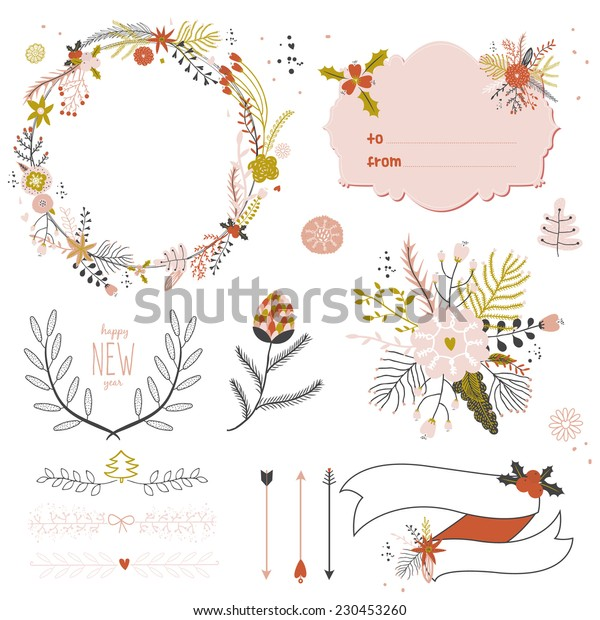 Vintage Merry Christmas And Happy New Year Calligraphic And Typographic Background. Greeting stylish illustration of winter romantic flower labels, ribbons, wreaths, laurels. Good for cards or posters