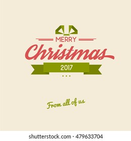 Vintage merry christmas lettering card. Seasonal flat vector background. Calligraphy greetings design template. Xmas decorative poster.