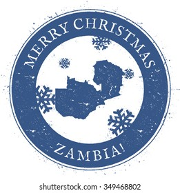 Vintage Merry Christmas Zambia Stamp. Stylised rubber stamp with map of Zambia and Merry Christmas text, vector illustration