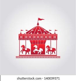 Vintage merry-go-round / carousel icon, fair symbol, vector illustration