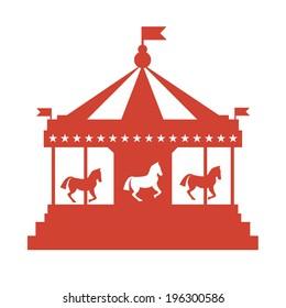Vintage merry-go-round. Carousel vector