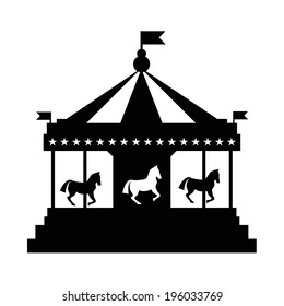 Vintage merry-go-round. Carousel vector  silhouette