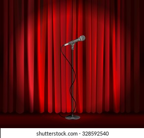 Vintage metal microphone against red curtain backdrop. mic on empty theatre stage, vector art image illustration. stand up comedian night show or karaoke party background. realistic retro design eps10