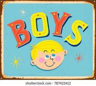 Vintage Metal Sign - BOYS - Vector EPS10. Grunge effects can be easily removed for a brand new, clean design.