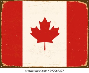 Vintage Metal Sign - Canada Flag - Vector EPS10. Grunge scratches and stain effects can be easily removed for a cleaner look.