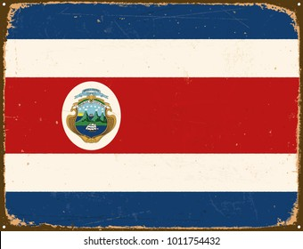 Vintage Metal Sign - Costa Rica Flag - Vector EPS10. Grunge scratches and stain effects can be easily removed for a cleaner look.