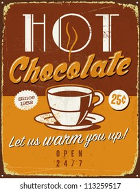 Vintage metal sign - Hot Chocolate - Vector EPS10. Grunge effects can be easily removed for a brand new, clean sign.