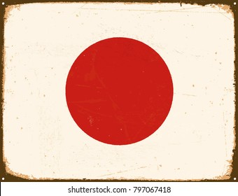 Vintage Metal Sign - Japan Flag - Vector EPS10. Grunge scratches and stain effects can be easily removed for a cleaner look.