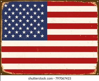 Vintage Metal Sign - United States Of America Flag - Vector EPS10. Grunge scratches and stain effects can be easily removed for a cleaner look.
