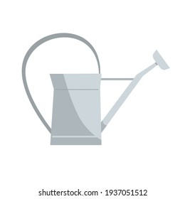 Vintage metal watering can, a classic design. Gardening tool or rustic decoration element. Vector illustration isolated on a white background.