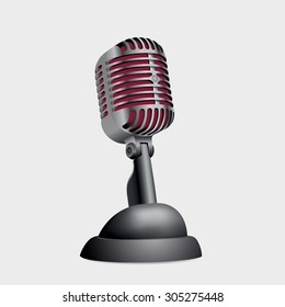 Vintage metallic microphone on stand on white background. Vector illustration