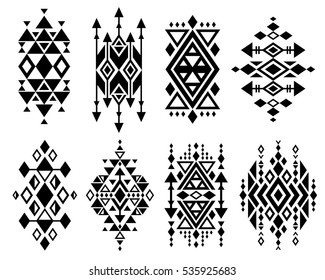 Vintage mexican aztec tribal traditional vector logo design, navajo prints set. Decoration traditional aztec design, ilustration of geometric aztec tribal tattoo.