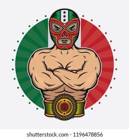 vintage mexican wrestler design, vector EPS 10