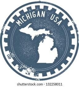 Vintage Michigan USA State Stamp