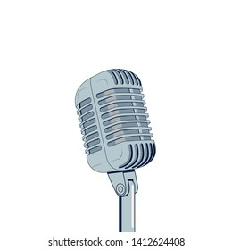 Vintage microphone isolated on a white background. Vector illustration