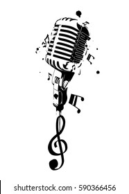 Vintage microphone with notes. Vector illustration.
