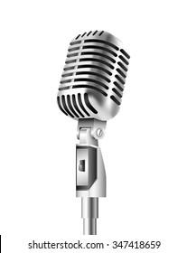 Vintage Microphone on isolated white background. Vector illustration.