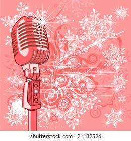 Vintage microphone & snowflakes