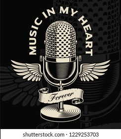 Vintage microphone with wings and ribbon in tattoo style. Text is on the separate group.