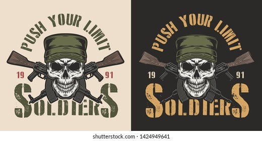 Vintage military and army colorful badge with soldier skull in cap and crossed assault rifles isolated vector illustration