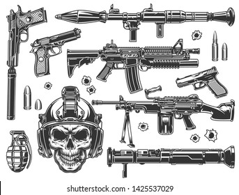 Vintage military and army elements set with automatic assault rifles grenade rocket launcher bazooka pistols skull in soldier helmet bullets and bullet holes isolated vector illustration