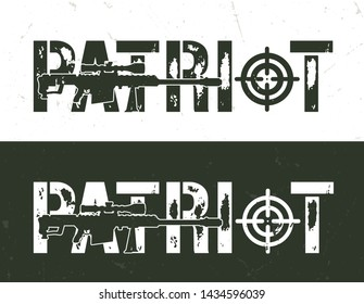 Vintage military and army horizontal template with sniper rifle and Patriot inscription vector illustration