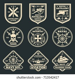 Vintage military and army vector emblems, badges and labels. Label and sticker aviation army and infantry illustration