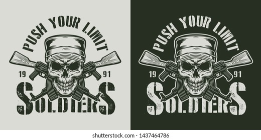 Vintage military badge with soldier skull in cap and crossed ak47 assault rifles in monochrome style isolated vector illustration