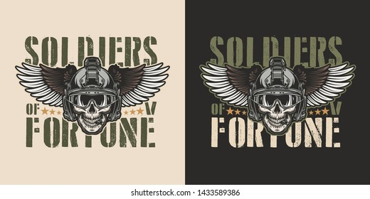 Vintage military colorful badge with soldier skull in modern winged helmet isolated vector illustration
