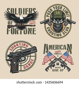 Vintage military colorful logos set with eagle holding firearm pistols crosshair special forces soldier skull crossed sniper rifles and american flags isolated vector illustration