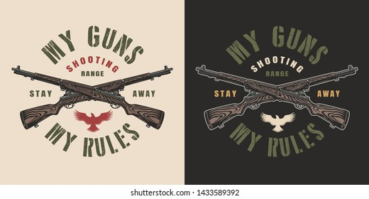 Vintage military colorful print with crossed carbine rifles on dark and light backgrounds isolated vector illustration