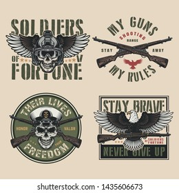 Vintage military colorful prints with soldier skull in modern helmet and navy officer skull crossed firearms flying eagle holding carbine rifle isolated vector illustration