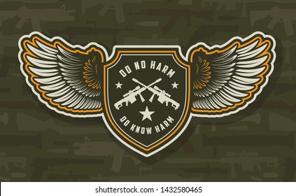 Vintage military colorful winged badge with crossed sniper rifles on weapons background isolated vector illustration