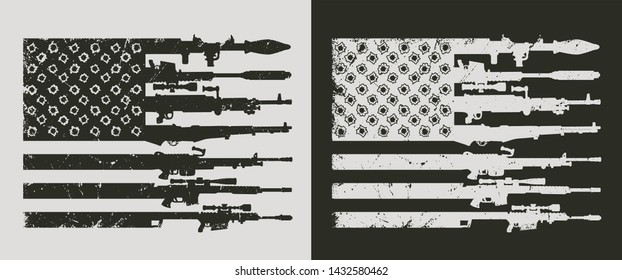 Vintage military concept with rocket launcer assault and sniper rifles bullet holes in shape of american flag vector illustration