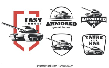 Vintage military emblems, badges and logo isolated on white background. Armored tank vector illustration.