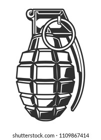 Vintage military hand grenade concept in monochrome style isolated vector illustration