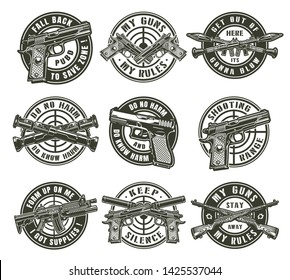 Vintage military labels with pistols assault rifle crossed bazookas rocket launchers handguns carbine rifles and different gun sights isolated vector illustration