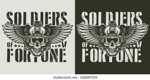 Vintage military monochrome badge with soldier skull in modern winged helmet isolated vector illustration