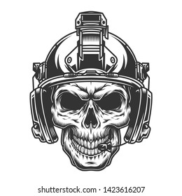 Vintage military monochrome concept with skull in soldier modern helmet isolated vector illustration