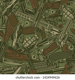 Vintage military seamless pattern with grenade sniper and assault rifles guns rocket launcher bullet holes on green background vector illustration