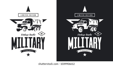 Vintage military truck black and white isolated vector logo. Premium quality old vehicle logotype t-shirt emblem illustration. American off-road car street wear hipster retro tee print design.