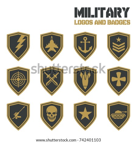 vintage military vector labels patches vector のベクター画像素材